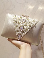 Women Evening Bag PU All Seasons Event/Party Party & Evening Club Baguette Pearl Detailing Magnetic Silver Gold