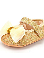 Baby Kids' Loafers & Slip-Ons First Walkers Synthetic Summer Fall Party & Evening Dress Casual Bowknot Flat Heel Red Gold Flat