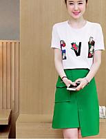 Для женщин На каждый день Лето Как у футболки Юбки Костюмы Круглый вырез,просто Буквы С короткими рукавами