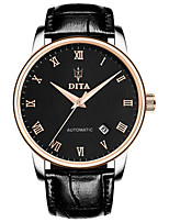Men's Fashion Watch Mechanical Watch Automatic self-winding Calendar Water Resistant / Water Proof Leather Band Black White Rose Gold