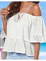 Damen Solide Einfach Lässig/Alltäglich T-shirt,Gurt Langarm Baumwolle Bambusfaser