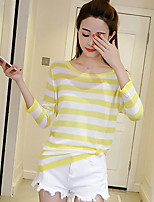 Women's Going out Regular Pullover,Striped Round Neck ¾ Sleeve Cotton Summer Medium Micro-elastic