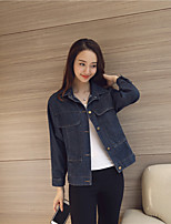 Women's Going out Casual/Daily Sexy Simple Cute Spring Denim Jacket,Solid Stand Long Sleeve Regular Cotton