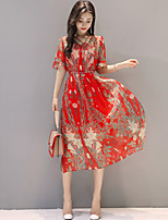 Для женщин Для вечеринок На выход Большие размеры Очаровательный А-силуэт Шифон Платье С принтом,V-образный вырез Средней длиныС