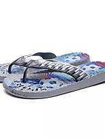 Men's Slippers & Flip-Flops Comfort PU Summer Outdoor Flat Heel Blue Yellow Gray Under 1in
