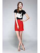 NEDO Women's Going out Party/Cocktail Holiday Vintage Street chic Sophisticated Spring Summer T-shirt Skirt SuitsAnimal Print Round NeckShort