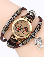 Women Premium Genuine Leather Watch Triple Bracelet Watch Cat Charm Wristwatch Fashion Para Femme