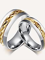 Paar Bandringe Ring Vintage Simple Style Elegant Titanstahl 18K Gold Runde Form Schmuck Für Hochzeit Party Alltag