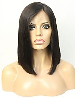 Short Cut Bob Style 12 Inch Human Hair Lace Front Wig with Bleached Knots