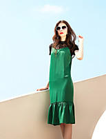 BLUEOXY Women's Party Going out Casual/Daily Bodycon DressSolid Round Neck Knee-length Short Sleeve Polyester Spandex Spring Summer Mid Rise