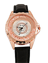 Women's Fashion Watch Quartz Leather Band Black Red Brown