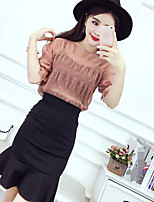Women's Going out Street chic T-shirt Skirt Suits,Solid Round Neck Short Sleeve Pleated Micro-elastic