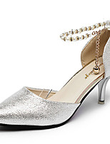 Women's Heels Comfort PU Spring Outdoor Comfort Stiletto Heel Coffee Silver Gold 5in & over