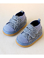 Girls' Flats First Walkers Fabric Spring Fall Casual Walking First Walkers Magic Tape Low Heel Light Blue Flat