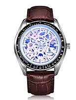 Муж. Часы со скелетом Модные часы Механические часы С автоподзаводом Защита от влаги Фосфоресцирующий Кожа Группа Коричневый