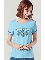 Dames Eenvoudig T-shirt,Dagelijks Causaal Geometrisch patroon Ronde hals Korte mouw Katoen