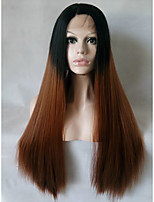 Two Tones Ombre Brown Synthetic Lace Front Wig Long Straight Heat Resistant Fiber Hair For Women Black Roots Wig