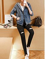 Women's Going out Casual/Daily Sexy Cute Spring Denim Jacket,Solid Hooded Long Sleeve Regular Polyester