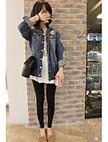 Veste en jean Femme,Couleur Pleine Décontracté Vestes Automne Manches longues Col de Chemise Normal Coton Découpé