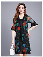 Women's Plus Size Lace Dress,Floral Print Round Neck Mini Knee-length Short Sleeve Wool Summer Mid Rise Micro-elastic Medium