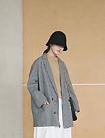Damen Gestreift Plaid/Karomuster Cool Alltag Normal Anzug,Rundhalsausschnitt Herbst Winter Lange Ärmel Standard Seide