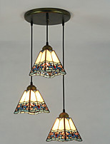 Pendant Light ,  Tiffany Painting Feature for Matte Metal Living Room Indoors Hallway 3 Bulbs