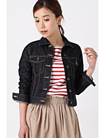 Women's Casual/Daily Vintage Simple Spring Fall Denim Jacket,Solid Shirt Collar Long Sleeve Short Cowhide Others