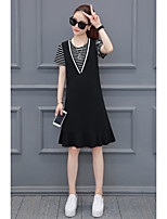 Women's Plus Size Beach Sexy A Line Dress,Solid Round Neck Midi Short Sleeve Cashmere All Seasons Mid Rise Micro-elastic Medium