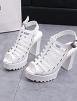 Women's Heels Comfort PU Spring Casual Comfort Black White Flat