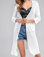 Women's Casual/Daily Simple Long Cardigan,Solid Halter ¾ Sleeve Cotton Spring Summer Medium Micro-elastic