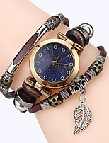 Women Premium Genuine Leather Watch Triple Bracelet Watch Leaves Charm Wristwatch Fashion Para Femme