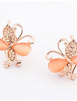 Euramerican Bohemia Elegant  Orange  Butterfly Opal  Rhinestoe Women's Daily Delicate Ear Clips Gift Jewelry