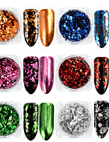 6 Box Aluminum Nail Flakes Sequins Powder Magic Mirror Glitters Gold Silver Candy Colors Irregular Pigment Nail Decorations