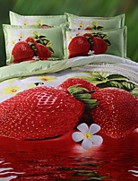 Strawberry style printed queen size polyester and cotton bedding sets 4pcs bed sheet pillowcase duvet cover set
