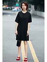 Ample Robe Femme Décontracté / QuotidienCouleur Pleine Col Arrondi Au dessus du genou Manches Courtes Coton Eté Taille Normale