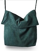 Women Shoulder Bag Suede All Seasons Casual Shopper Zipper Dark Green
