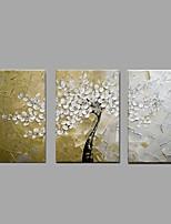 Ručně malované Květinový/Botanický motiv Horizontálně,Moderní Pastýřský Tři panely Plátno Hang-malované olejomalba For Home dekorace