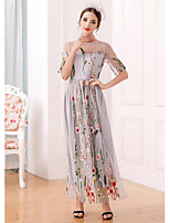 UNE FLEURWomen's Casual/Daily Swing DressEmbroidered Round Neck Maxi Short Sleeve Polyester Summer High Rise Micro-elastic Thin