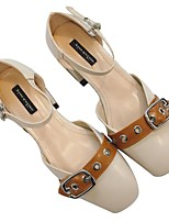 Women's Sandals Comfort PU Spring Casual Comfort Chunky Heel Almond Under 1in
