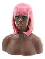 Cosplay Wig Girls Short Hair BOBO Head Qi Liuhai Pink Wig 12inch