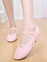 Women's Ballet Canvas Flats Heels Practice Blushing Pink Ruby