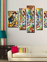 Art Print Abstract Modern Five Panels Horizontal Pigment Print Wall Decor For Home Decoration