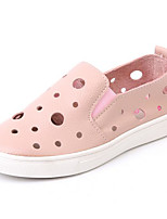 Girls' Loafers & Slip-Ons Comfort Hole Shoes Nappa Leather Spring Fall Outdoor Casual Walking Magic Tape Low HeelBlushing Pink Black