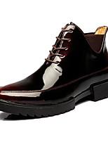 Men's Boots Comfort Cowhide Spring Casual Comfort Black Burgundy Flat