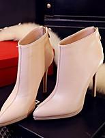 Для женщин Ботинки Полиуретан Зима На толстом каблуке Черный Красный Розовый 2,5 - 4,5 см