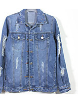 Women's Casual/Daily Simple Spring Denim Jacket,Solid Shirt Collar Long Sleeve Regular Polyester