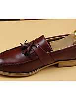 Men's Sneakers Comfort PU Spring Daily Black Brown Burgundy Flat