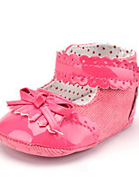 Newborn Baby Girls' Kids' Boots First Walkers PU Twill Summer Fall Party & Evening Dress Casual Bootie Lace-up Tassel Flat Heel Navy Blue Peach White