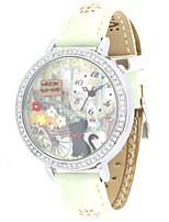 Женские Модные часы Кварцевый Кожа Группа Белый Зеленый