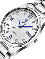 Men's Fashion Watch Quartz Calendar Alloy Ceramic Band Silver Gold